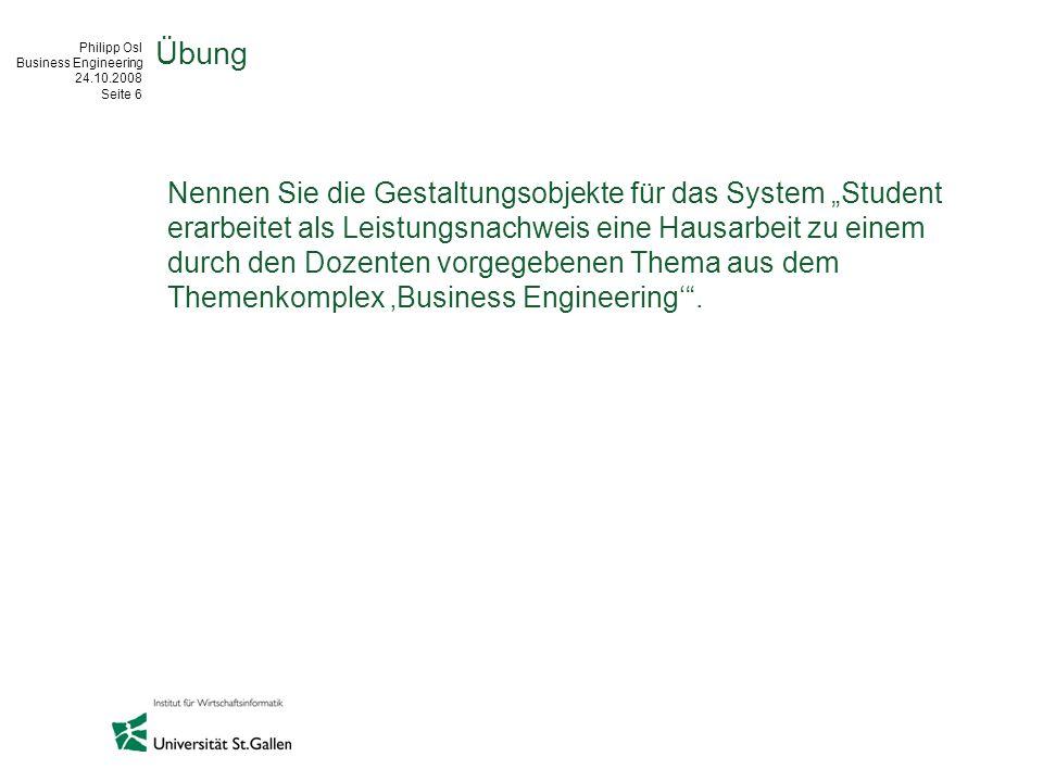Philipp Osl Business Engineering 24.10.2008 Seite 6 Übung Nennen Sie die Gestaltungsobjekte für das System Student erarbeitet als Leistungsnachweis ei