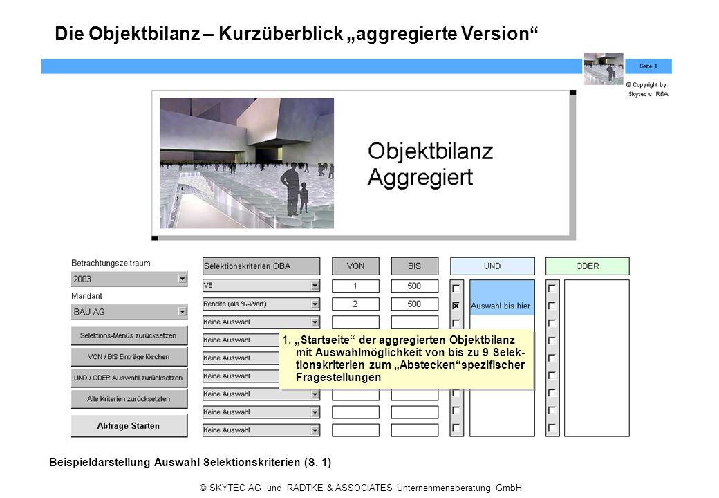 © SKYTEC AG und RADTKE & ASSOCIATES Unternehmensberatung GmbH Die Objektbilanz – Kurzüberblick aggregierte Version Beispieldarstellung Auswahl Selekti
