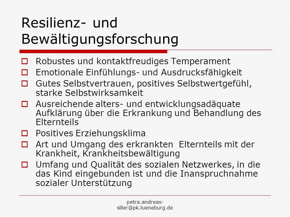 petra.andreas- siller@pk.lueneburg.de Ausblick 1 Die Kooperation der bestehenden Hilfen ist die beste Voraussetzung für wirksame Hilfeleistungen, dabei ist die Trennung von Hilfen für Kinder psychisch kranker Eltern und Kinder suchtkranker Eltern nicht zielführend.