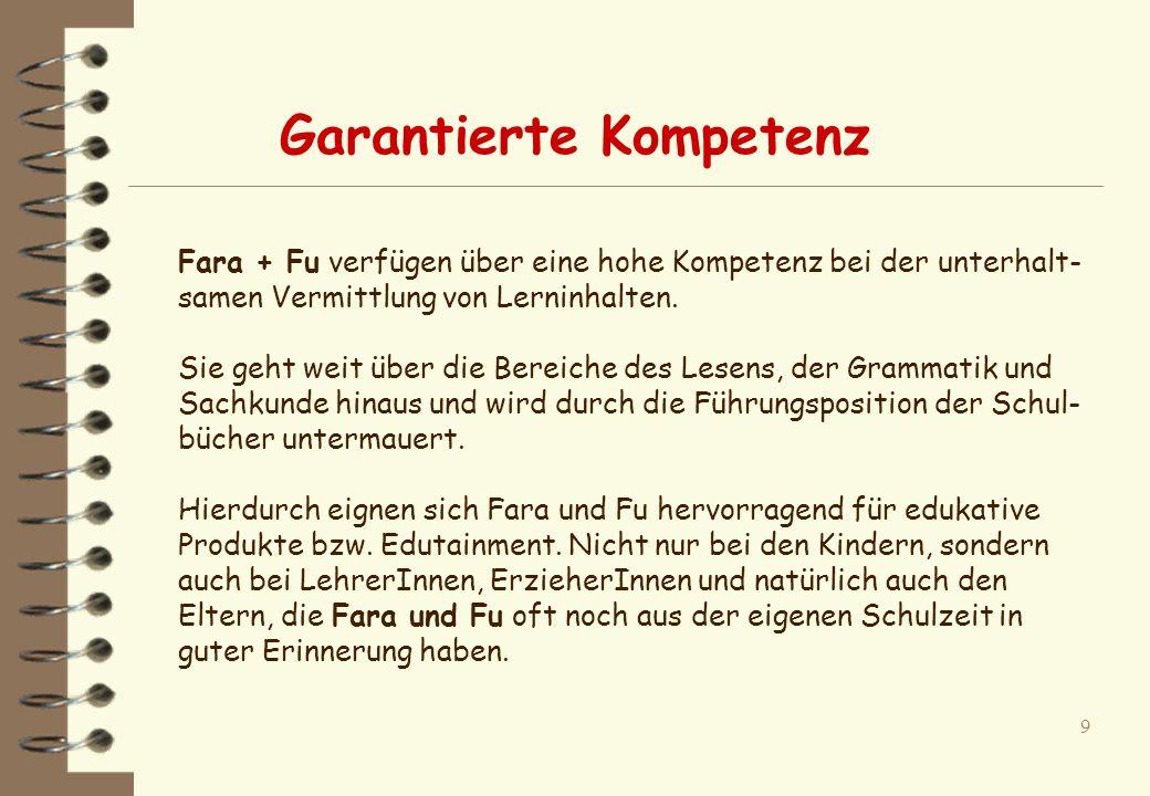9 Fara + Fu verfügen über eine hohe Kompetenz bei der unterhalt- samen Vermittlung von Lerninhalten.