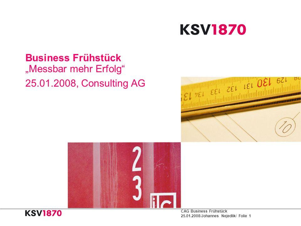 CAG Business Frühstück 25.01.2008/Johannes Nejedlik/ Folie 1 Business Frühstück Messbar mehr Erfolg 25.01.2008, Consulting AG