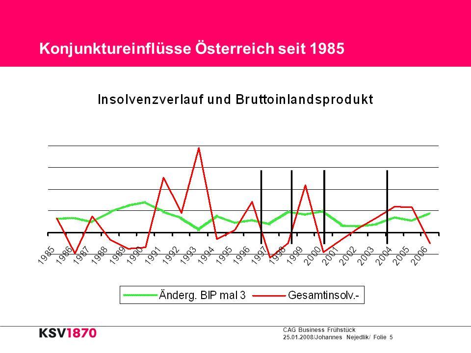 CAG Business Frühstück 25.01.2008/Johannes Nejedlik/ Folie 5 Konjunktureinflüsse Österreich seit 1985