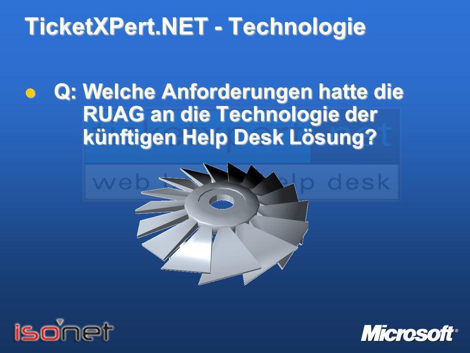 TicketXPert.NET - Technologie Q: Welche Anforderungen hatte die RUAG an die Technologie der künftigen Help Desk Lösung? Q: Welche Anforderungen hatte