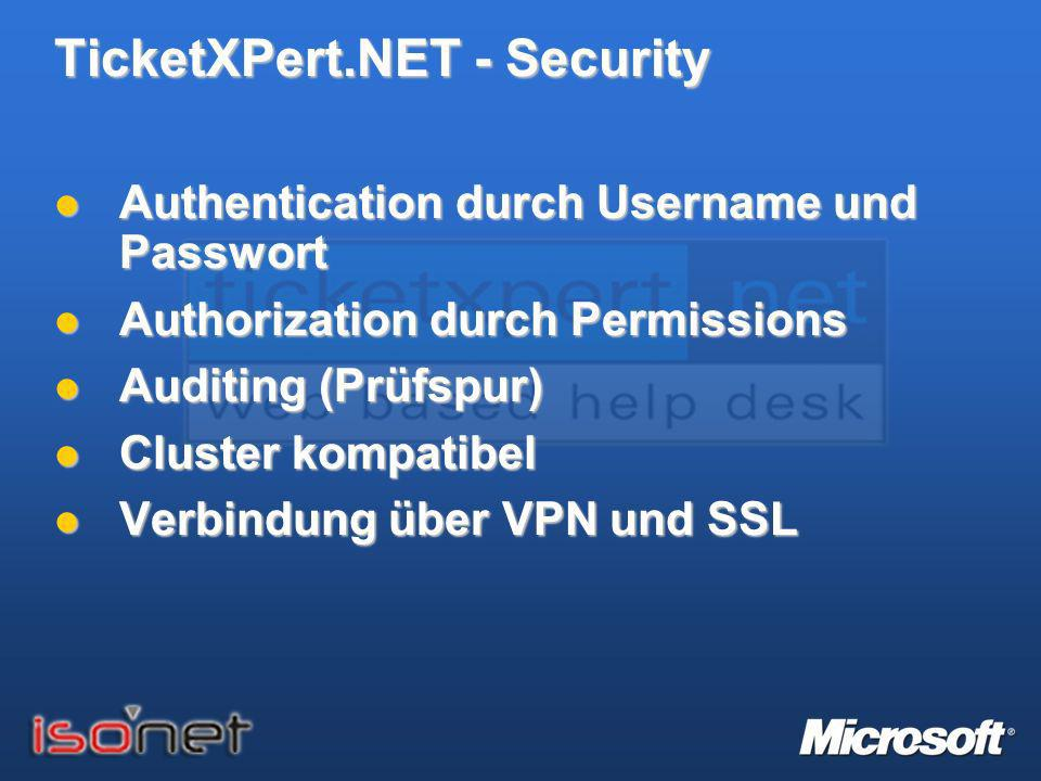 TicketXPert.NET - Security Authentication durch Username und Passwort Authentication durch Username und Passwort Authorization durch Permissions Autho