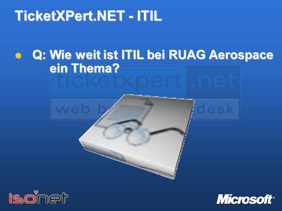 TicketXPert.NET - ITIL Q: Wie weit ist ITIL bei RUAG Aerospace ein Thema? Q: Wie weit ist ITIL bei RUAG Aerospace ein Thema?