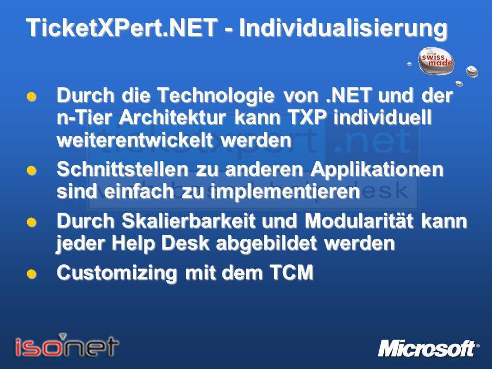 TicketXPert.NET - Individualisierung Durch die Technologie von.NET und der n-Tier Architektur kann TXP individuell weiterentwickelt werden Durch die T