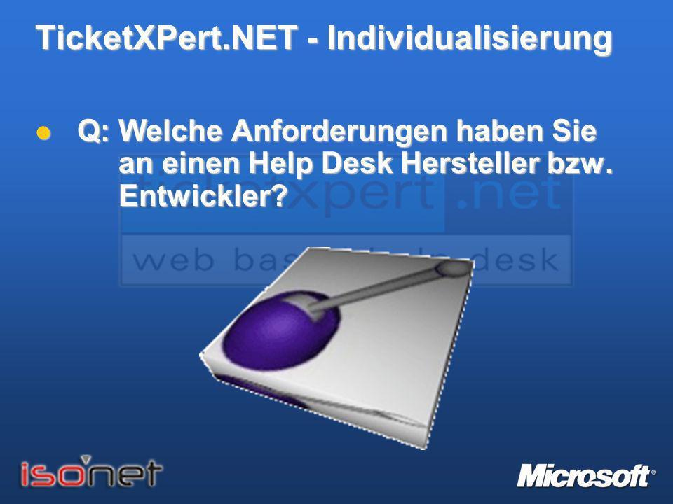 TicketXPert.NET - Individualisierung Q: Welche Anforderungen haben Sie an einen Help Desk Hersteller bzw. Entwickler? Q: Welche Anforderungen haben Si