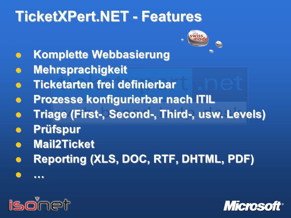 TicketXPert.NET - Features Komplette Webbasierung Komplette Webbasierung Mehrsprachigkeit Mehrsprachigkeit Ticketarten frei definierbar Ticketarten fr