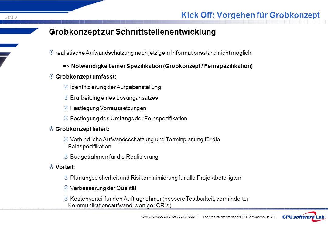 Tochterunternehmen der CPU Softwarehouse AG Seite 3 ©2004 CPUsoftware Lab GmbH & Co. KG Version 1 Kick Off: Vorgehen für Grobkonzept Grobkonzept zur S