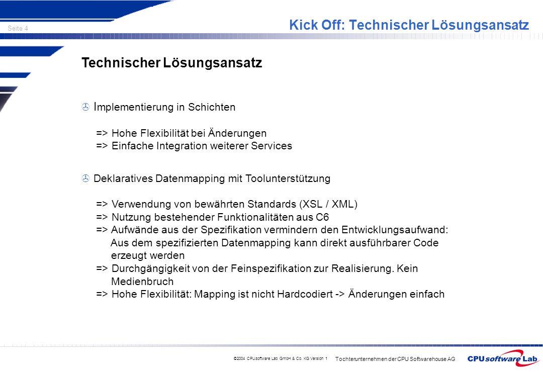 Tochterunternehmen der CPU Softwarehouse AG Seite 4 ©2004 CPUsoftware Lab GmbH & Co. KG Version 1 Kick Off: Technischer Lösungsansatz Technischer Lösu