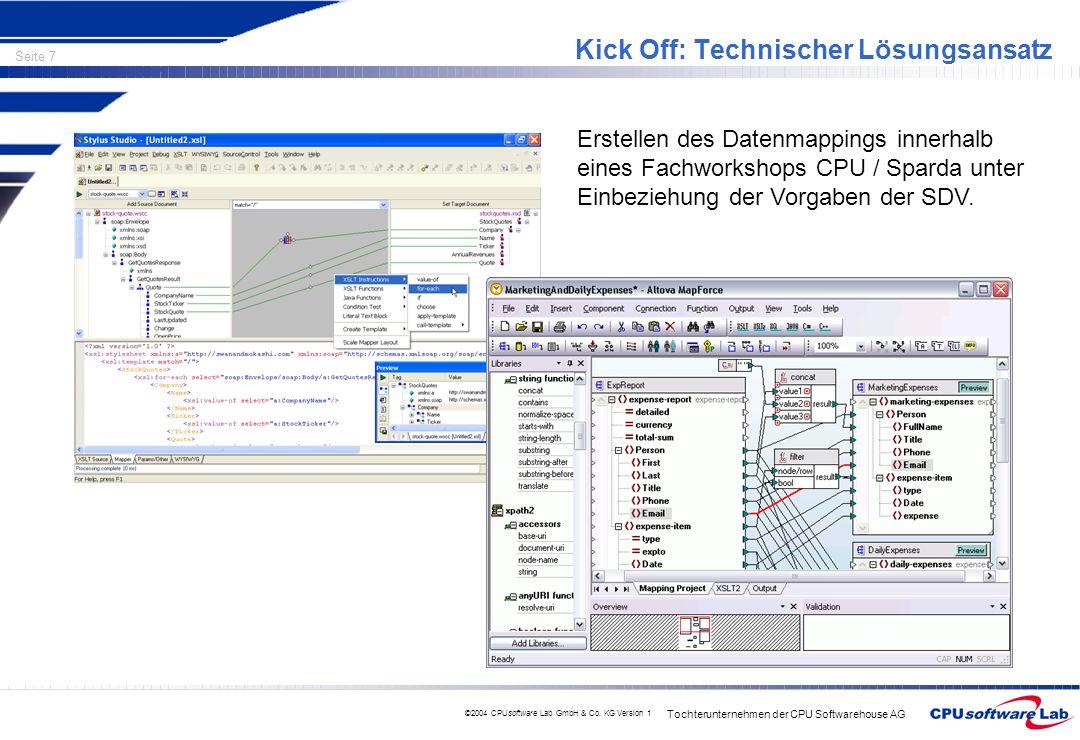 Tochterunternehmen der CPU Softwarehouse AG Seite 7 ©2004 CPUsoftware Lab GmbH & Co. KG Version 1 Kick Off: Technischer Lösungsansatz Erstellen des Da
