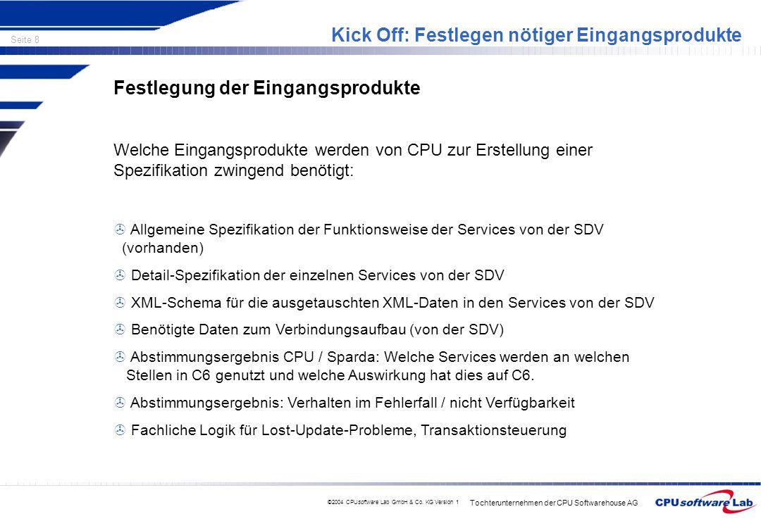 Tochterunternehmen der CPU Softwarehouse AG Seite 8 ©2004 CPUsoftware Lab GmbH & Co. KG Version 1 Kick Off: Festlegen nötiger Eingangsprodukte Festleg
