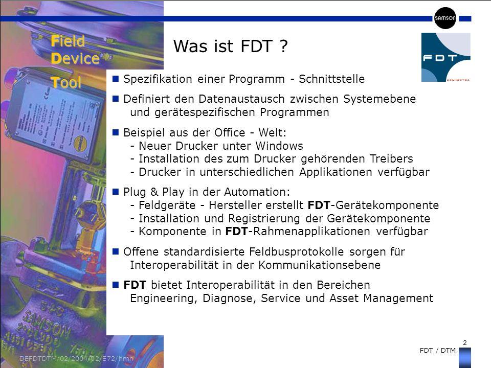 2 FDT / DTM DEFDTDTM/02/2004/02/E72/hmn Spezifikation einer Programm - Schnittstelle Definiert den Datenaustausch zwischen Systemebene und gerätespezi