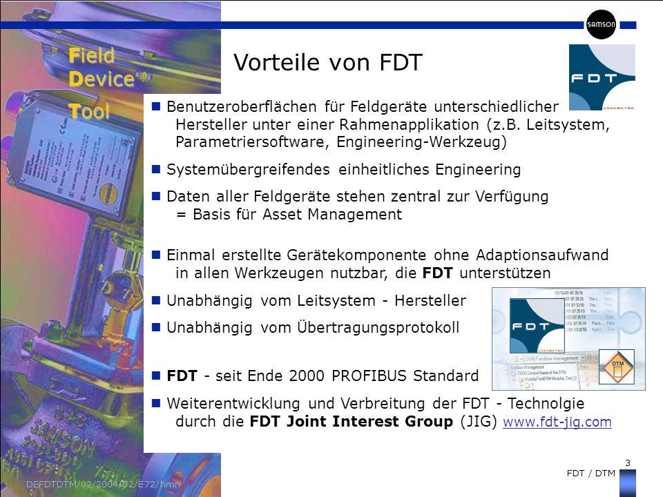 3 FDT / DTM DEFDTDTM/02/2004/02/E72/hmn Benutzeroberflächen für Feldgeräte unterschiedlicher Hersteller unter einer Rahmenapplikation (z.B. Leitsystem