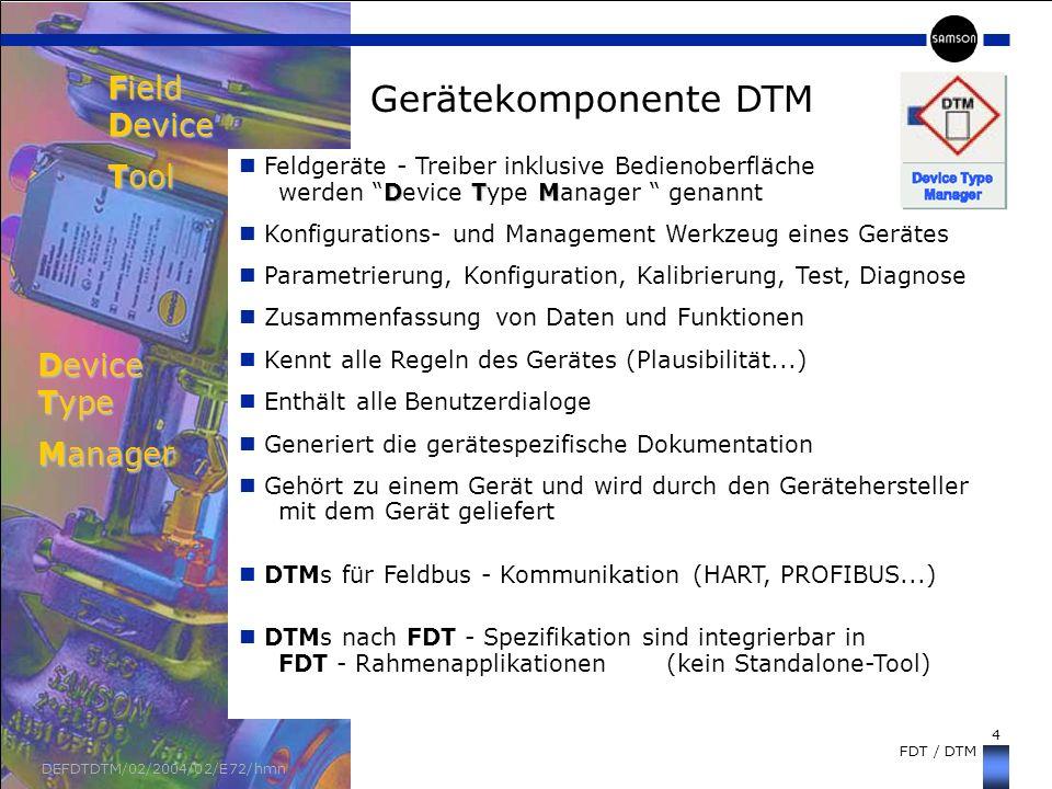 4 FDT / DTM DEFDTDTM/02/2004/02/E72/hmn Gerätekomponente DTM Field Device Tool DTM Feldgeräte - Treiber inklusive Bedienoberfläche werden Device Type