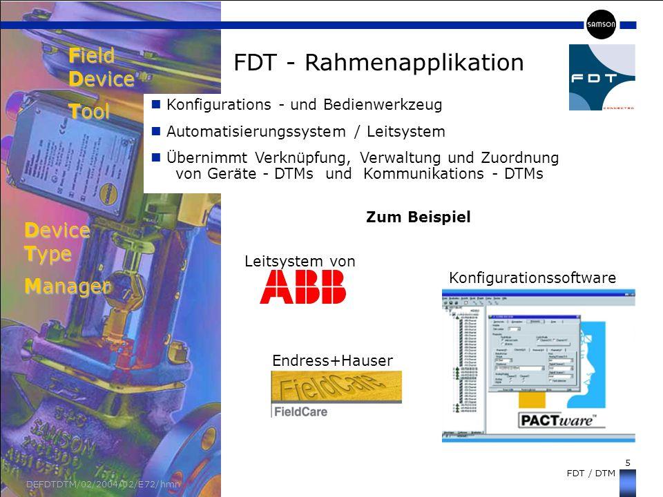 5 FDT / DTM DEFDTDTM/02/2004/02/E72/hmn FDT - Rahmenapplikation Field Device Tool Konfigurations - und Bedienwerkzeug Automatisierungssystem / Leitsys