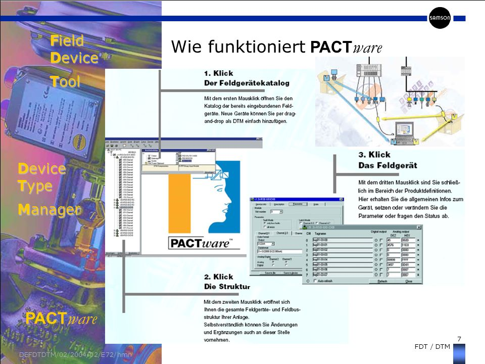 7 FDT / DTM DEFDTDTM/02/2004/02/E72/hmn Wie funktioniert PACT ware Field Device Tool Device Type Manager PACT ware