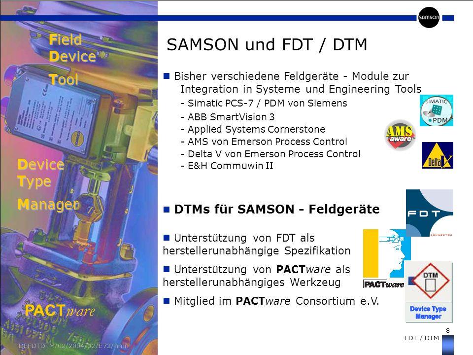 8 FDT / DTM DEFDTDTM/02/2004/02/E72/hmn Unterstützung von FDT als herstellerunabhängige Spezifikation Unterstützung von PACTware als herstellerunabhän