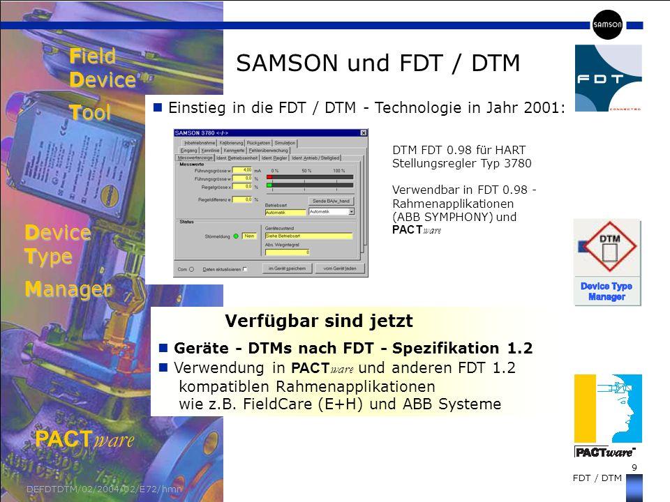 9 FDT / DTM DEFDTDTM/02/2004/02/E72/hmn SAMSON und FDT / DTM Field Device Tool Einstieg in die FDT / DTM - Technologie in Jahr 2001: Device Type Manag
