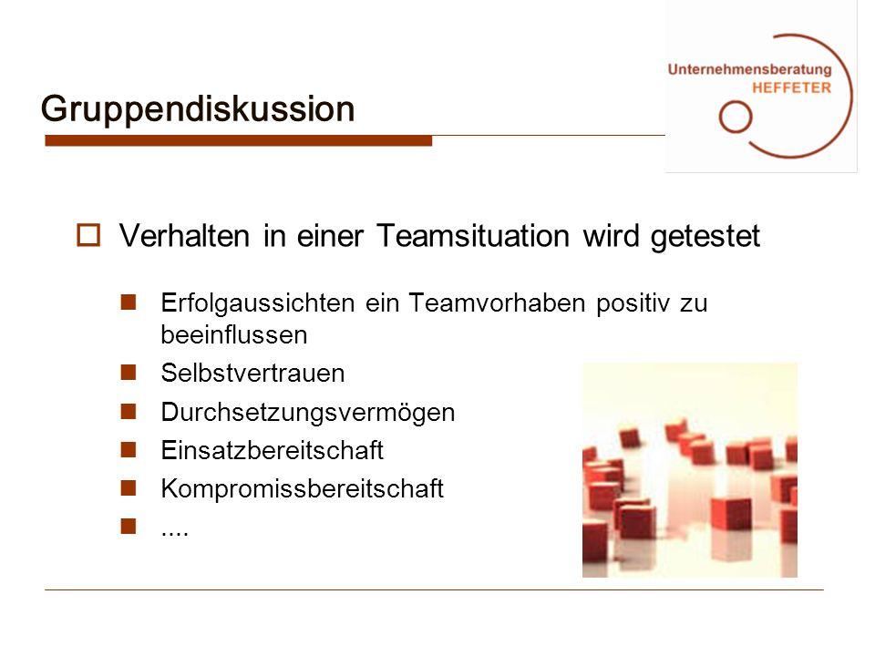 Gruppendiskussion Verhalten in einer Teamsituation wird getestet Erfolgaussichten ein Teamvorhaben positiv zu beeinflussen Selbstvertrauen Durchsetzun