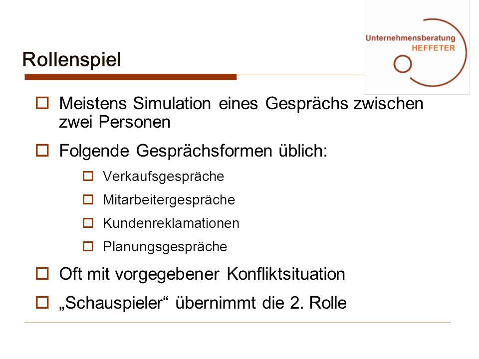 Rollenspiel Meistens Simulation eines Gesprächs zwischen zwei Personen Folgende Gesprächsformen üblich: Verkaufsgespräche Mitarbeitergespräche Kundenr