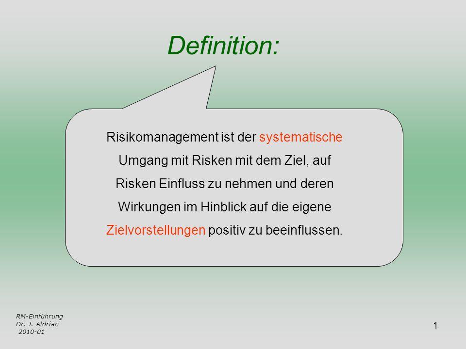 1 Risikomanagement ist der systematische Umgang mit Risken mit dem Ziel, auf Risken Einfluss zu nehmen und deren Wirkungen im Hinblick auf die eigene