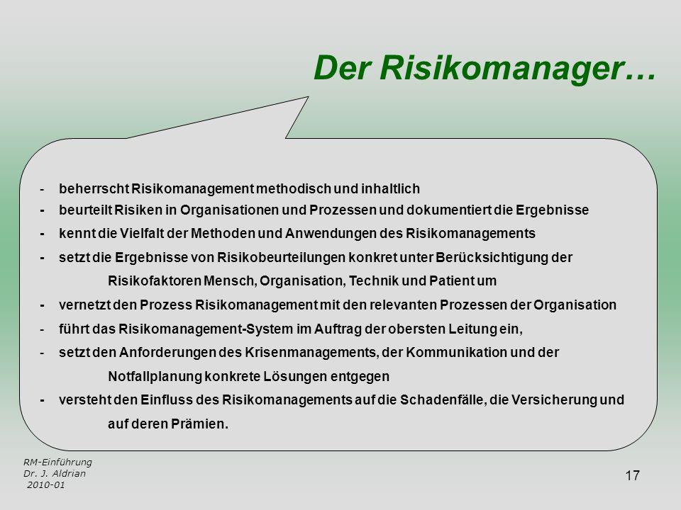 17 - beherrscht Risikomanagement methodisch und inhaltlich - beurteilt Risiken in Organisationen und Prozessen und dokumentiert die Ergebnisse - kennt
