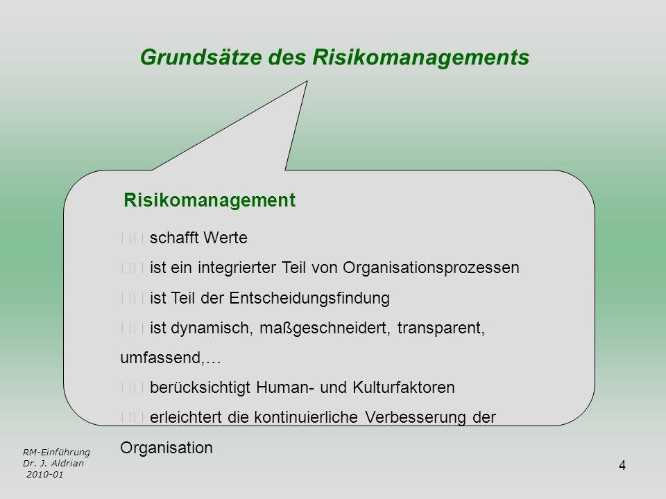 4 RM-Einführung Dr. J. Aldrian 2010-01 schafft Werte ist ein integrierter Teil von Organisationsprozessen ist Teil der Entscheidungsfindung ist dynami