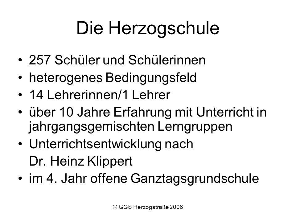 © GGS Herzogstraße 2006 Individualität Schüler LehrerEltern Die Individualität muss sich auf alle drei Bereiche beziehen.