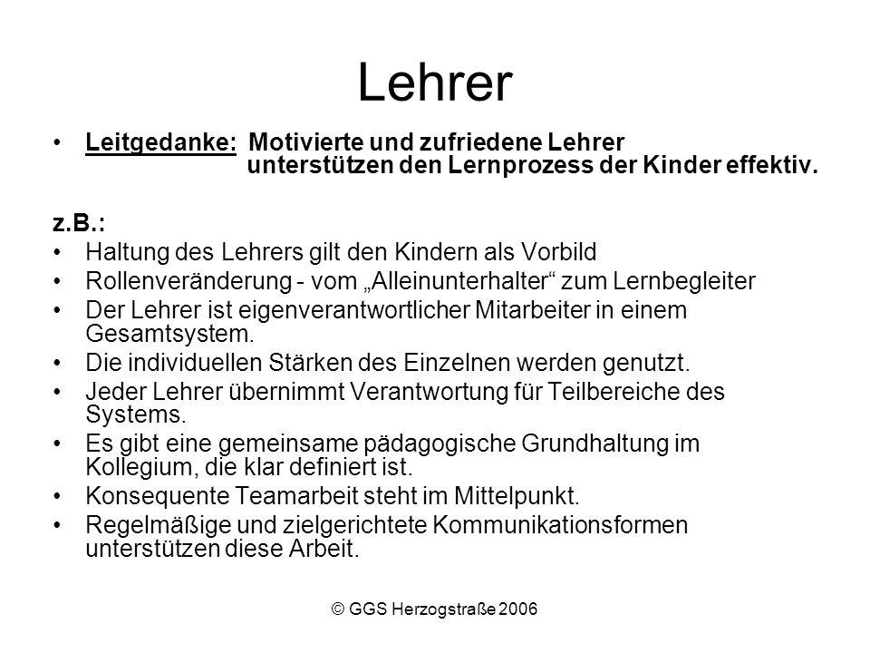 © GGS Herzogstraße 2006 Eltern Leitgedanke: Eltern wollen den Lernprozess ihrer Kinder unterstützen.