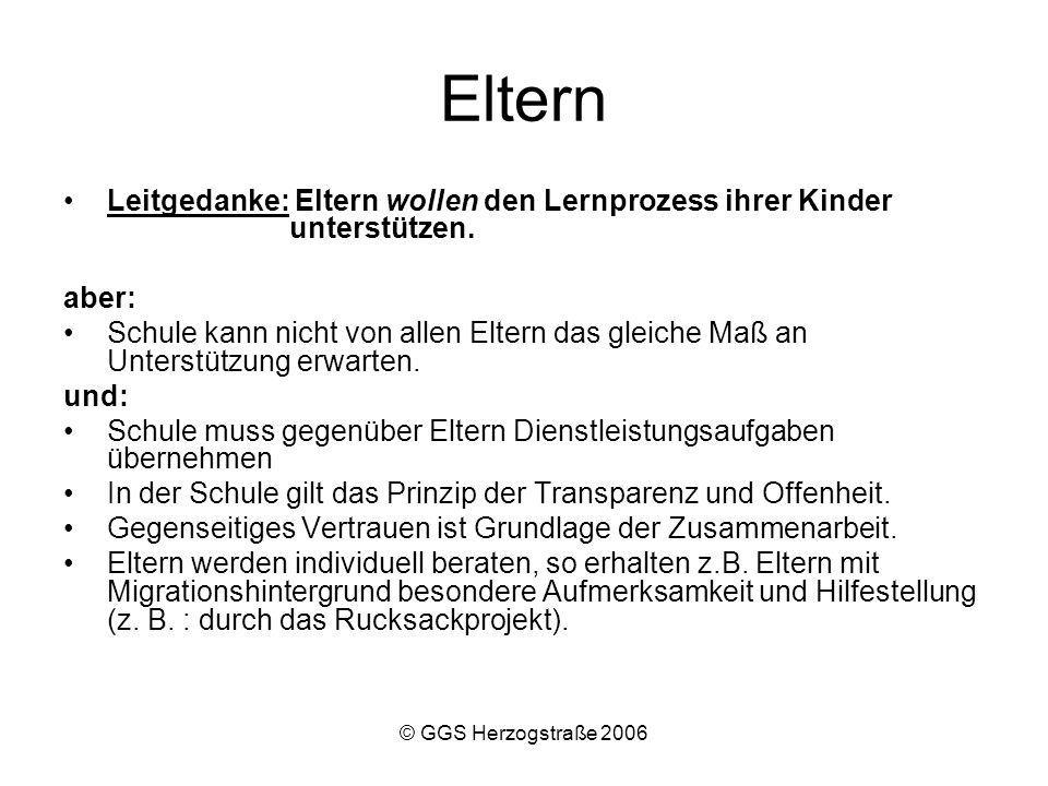 © GGS Herzogstraße 2006 Rucksack in der Grundschule Gegenstand des Projektes : –Elternfortbildung, um schulische und gesellschaftliche Erfolge der Migrantenkinder zu verbessern Ziele sind zum Beispiel: –Kennenlernen grundschulspezifischer Arbeitsweisen.
