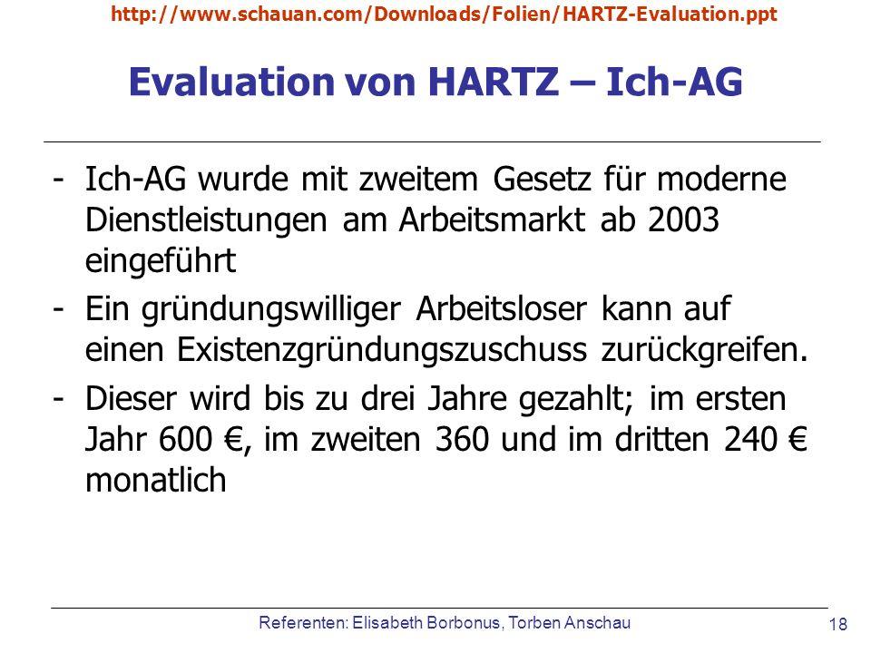 Referenten: Elisabeth Borbonus, Torben Anschau http://www.schauan.com/Downloads/Folien/HARTZ-Evaluation.ppt 18 Evaluation von HARTZ – Ich-AG -Ich-AG w