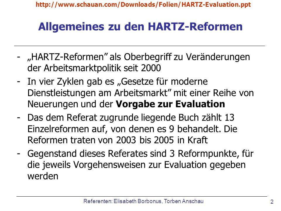 http://www.schauan.com/Downloads/Folien/HARTZ-Evaluation.ppt Referenten: Elisabeth Borbonus, Torben Anschau 13 Methodik bei verst ä rktem Personaleinsatz Makroökonometrische Evaluationsstudie: Erforderlich, weil indirekte Effekte zu erwarten sind (=positive Effekte auf der Individualebene, können negative Effekte auf der Gesamtvolkswirtschaftlicher ebene zufolge haben) Implementationsanalyse: Analyse: Entwicklung des Personalsschlüssels und die Betreuung von Stellenanbieter durch die BA.