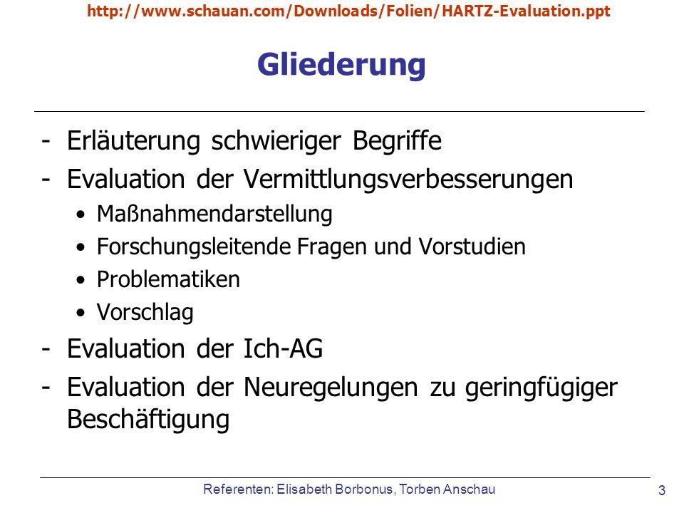 Referenten: Elisabeth Borbonus, Torben Anschau http://www.schauan.com/Downloads/Folien/HARTZ-Evaluation.ppt 3 Gliederung -Erläuterung schwieriger Begr