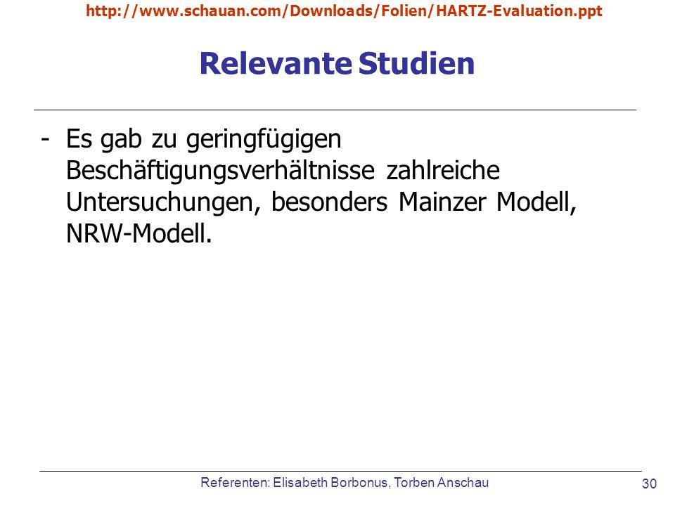 Referenten: Elisabeth Borbonus, Torben Anschau http://www.schauan.com/Downloads/Folien/HARTZ-Evaluation.ppt 30 Relevante Studien -Es gab zu geringfügi