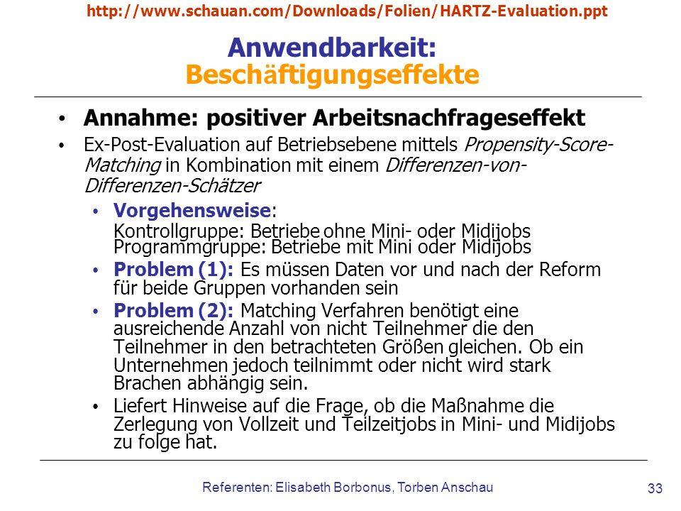 http://www.schauan.com/Downloads/Folien/HARTZ-Evaluation.ppt Referenten: Elisabeth Borbonus, Torben Anschau 33 Anwendbarkeit: Besch ä ftigungseffekte