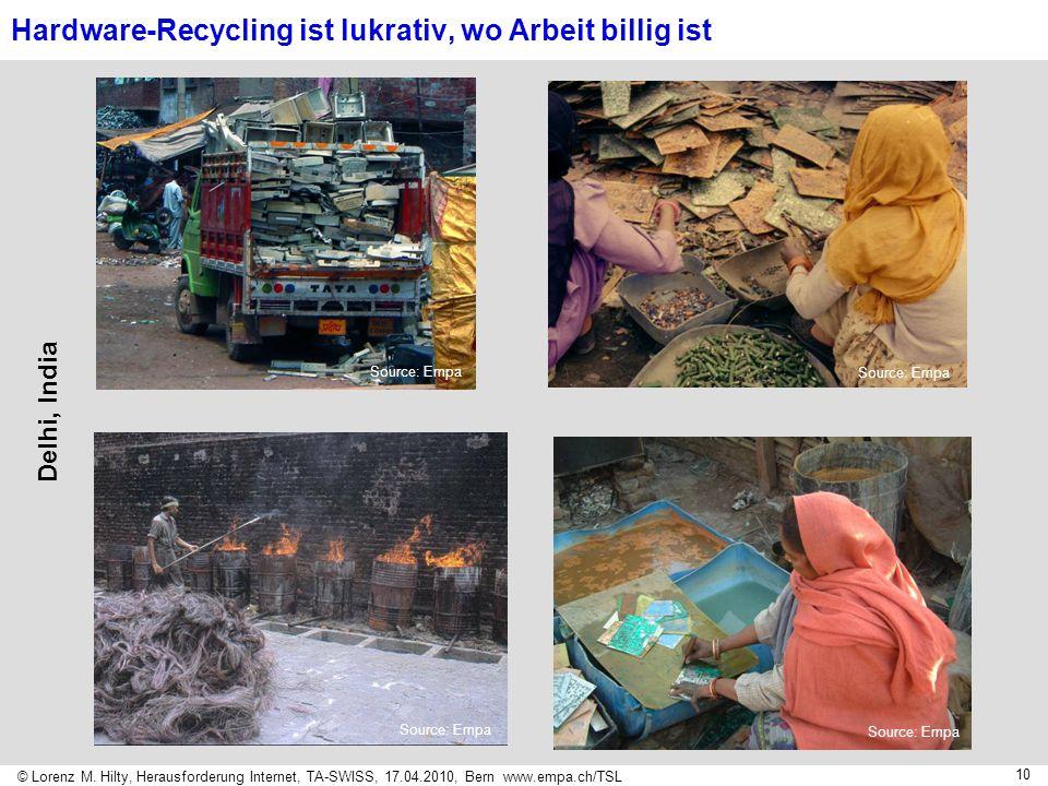 © Lorenz M. Hilty, Herausforderung Internet, TA-SWISS, 17.04.2010, Bern www.empa.ch/TSL 10 Delhi, India Source: Empa Hardware-Recycling ist lukrativ,