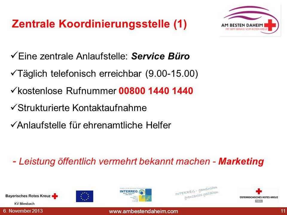 www.ambestendaheim.com KV Miesbach 116. November 2013 Zentrale Koordinierungsstelle (1) Eine zentrale Anlaufstelle: Service Büro Täglich telefonisch e
