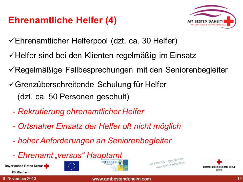 www.ambestendaheim.com KV Miesbach 146. November 2013 Ehrenamtliche Helfer (4) - Rekrutierung ehrenamtlicher Helfer - Ortsnaher Einsatz der Helfer oft