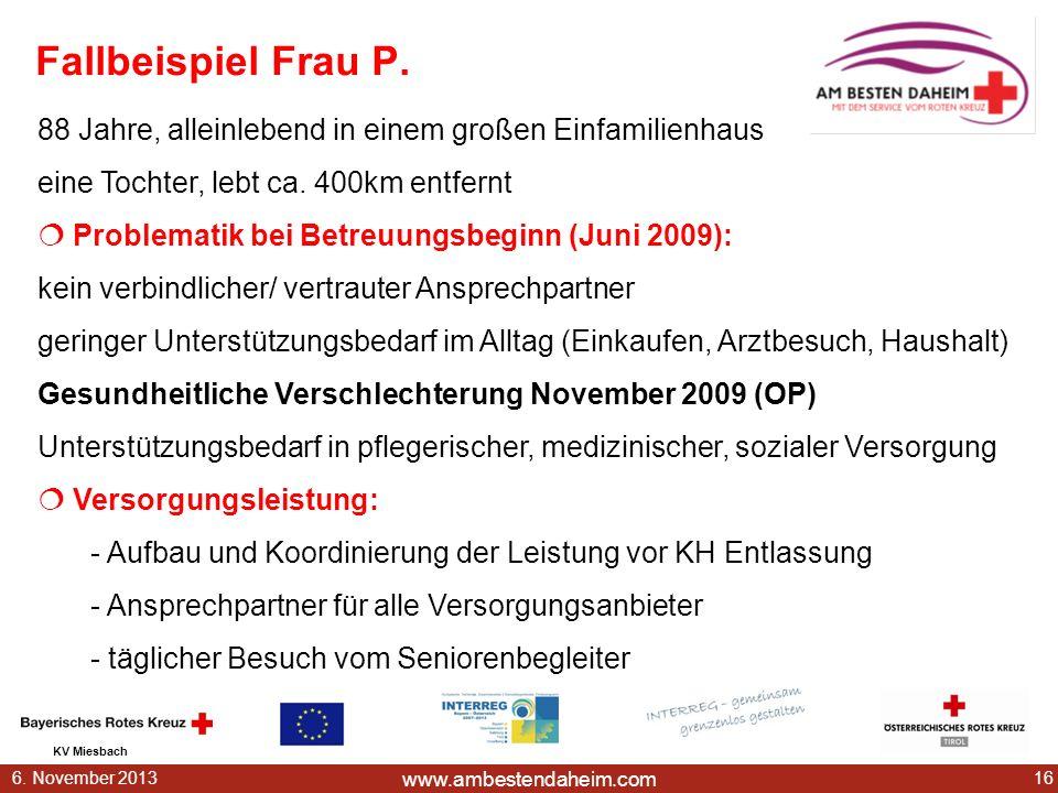 www.ambestendaheim.com KV Miesbach 166. November 2013 Fallbeispiel Frau P. 88 Jahre, alleinlebend in einem großen Einfamilienhaus eine Tochter, lebt c