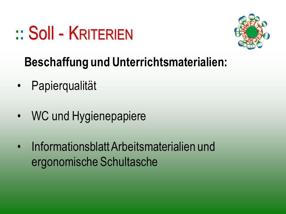 Papierqualität WC und Hygienepapiere Informationsblatt Arbeitsmaterialien und ergonomische Schultasche :: S SS Soll - KRITERIEN Beschaffung und Unterr