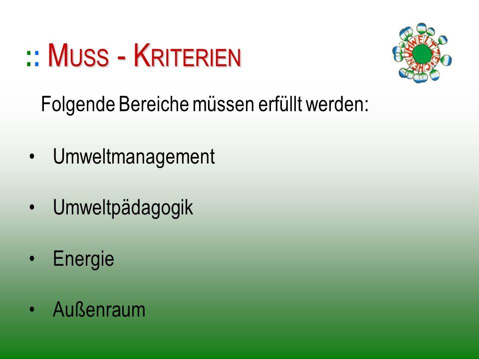 Umweltmanagement Umweltpädagogik Energie Außenraum :: M MM MUSS - KRITERIEN Folgende Bereiche müssen erfüllt werden: