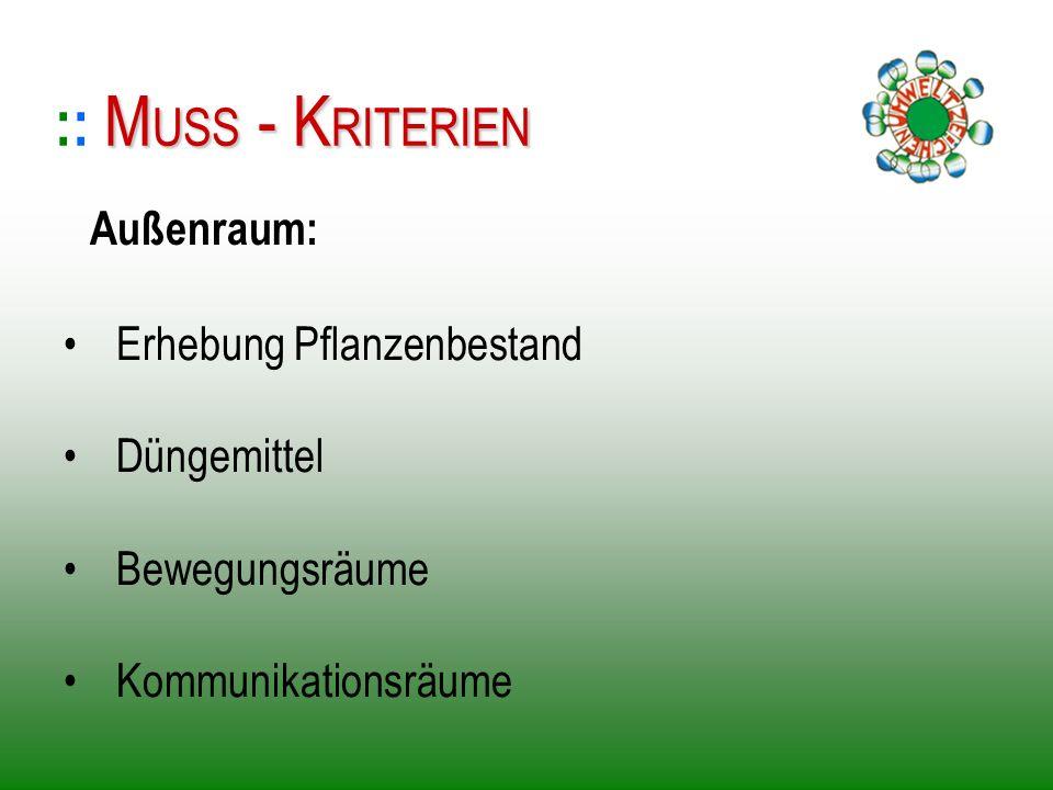 Erhebung Pflanzenbestand Düngemittel Bewegungsräume Kommunikationsräume :: M MM MUSS - KRITERIEN Außenraum: