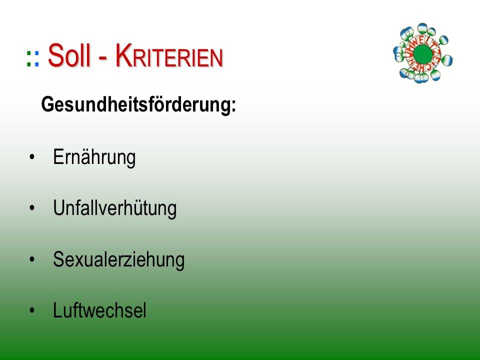 Ernährung Unfallverhütung Sexualerziehung Luftwechsel :: S SS Soll - KRITERIEN Gesundheitsförderung: