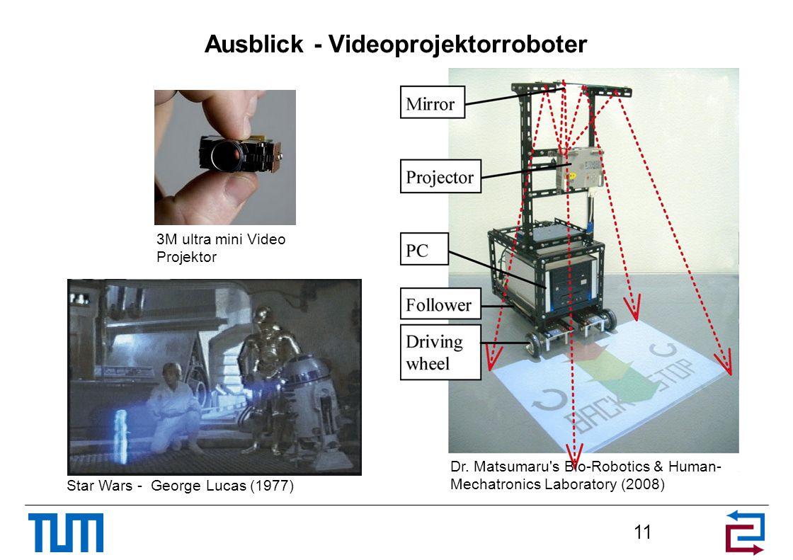 Ausblick - Videoprojektorroboter 11 Dr. Matsumaru's Bio-Robotics & Human- Mechatronics Laboratory (2008) Star Wars - George Lucas (1977) 3M ultra mini