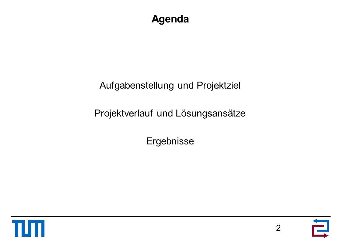 Agenda Aufgabenstellung und Projektziel Projektverlauf und Lösungsansätze Ergebnisse 2