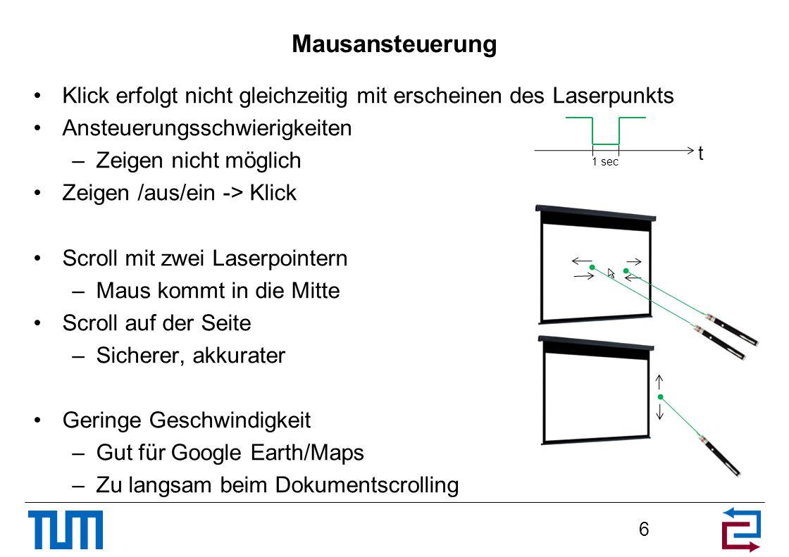Mausansteuerung Klick erfolgt nicht gleichzeitig mit erscheinen des Laserpunkts Ansteuerungsschwierigkeiten –Zeigen nicht möglich Zeigen /aus/ein -> K