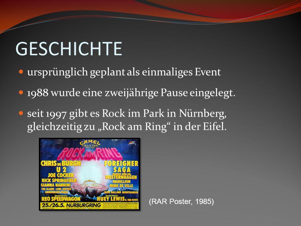 GESCHICHTE ursprünglich geplant als einmaliges Event 1988 wurde eine zweijährige Pause eingelegt. seit 1997 gibt es Rock im Park in Nürnberg, gleichze