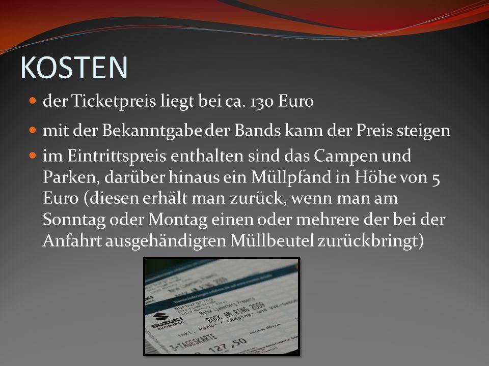 KOSTEN der Ticketpreis liegt bei ca. 130 Euro mit der Bekanntgabe der Bands kann der Preis steigen im Eintrittspreis enthalten sind das Campen und Par