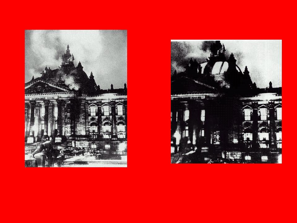 Hitler begann sofort, die Opposition auszuschalten. Am 27.Februar stand der Reichstag in Flammen. Die Nazis beschuldigten die Kommunisten.